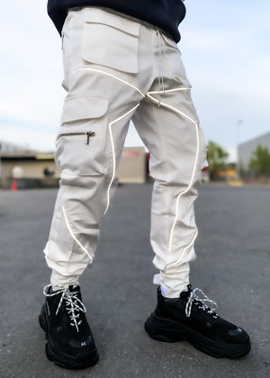 Pearl White Reflective Cargo Pant