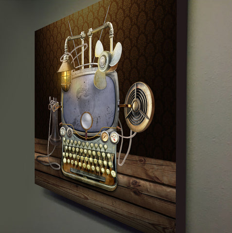 retro tech steampunk computer futurist canvas