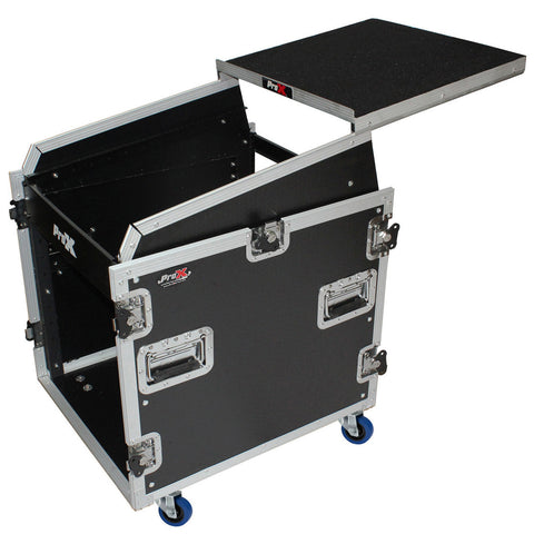 ProX T-12MRSS13ULT-12U Rack Front load 13U Top Mixer DJ Combo Flight Case w Laptop Shelf & Casters
