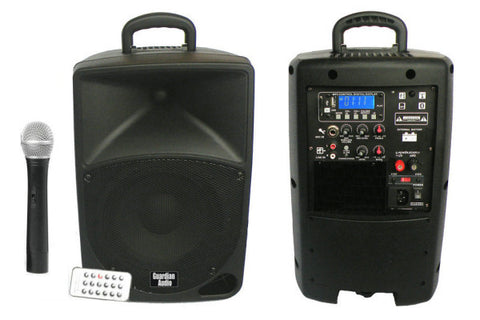 "Guardian BP8 Battery powered 8"" speaker w/wireless mic, MP3 player and Bluetooth"