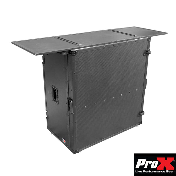 ProX XS-DJSTN Transformer Series Fold Away DJ Performance Desk Facade Black on Black W/ Whee