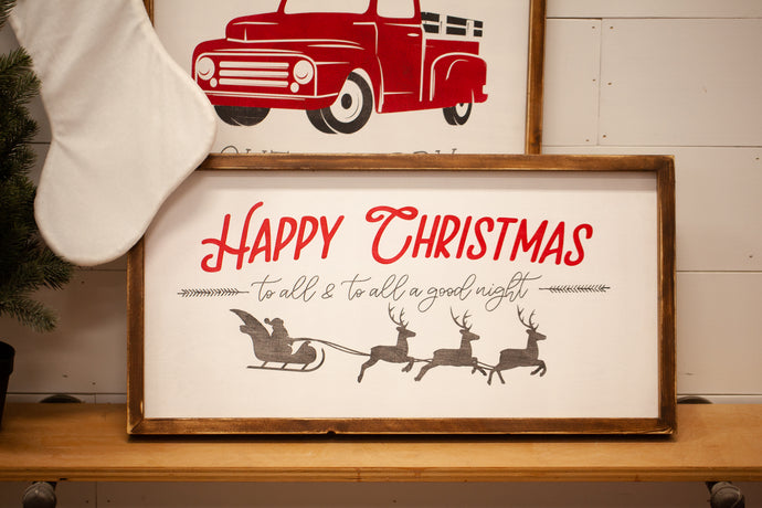 Happy Christmas Wood Sign