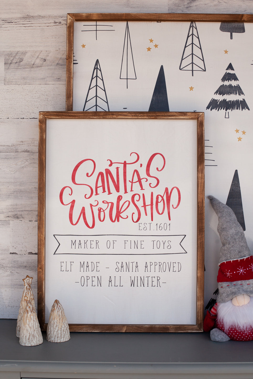 Santa's Workshop Christmas Wood Sign