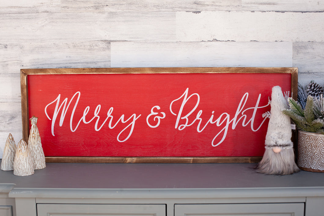 Merry & Bright Christmas Wood Sign