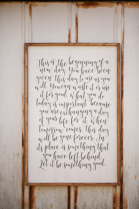 This is the Beginning of a New Day Wooden Home Decor Sign