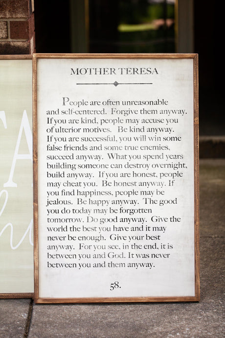 Mother Teresa Book Page Wood Frame Sign