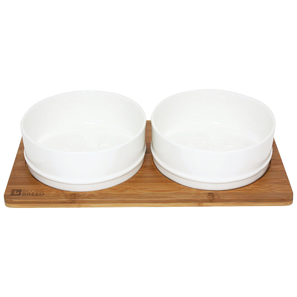 BEONEBREED Bamboo and Ceramic Food Bowl Set (Sizes)