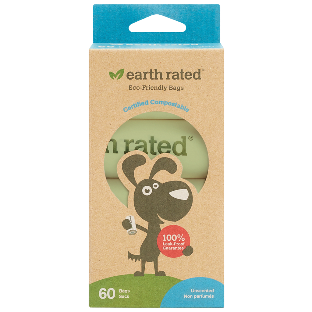 Earth Rated - Compostable Poop Bags - 4 Rolls (60 Bags)