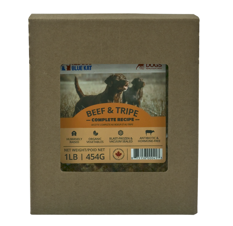 Red Dog Blue Kat Raw Food - Beef and Tripe Complete - 1 lb Pack