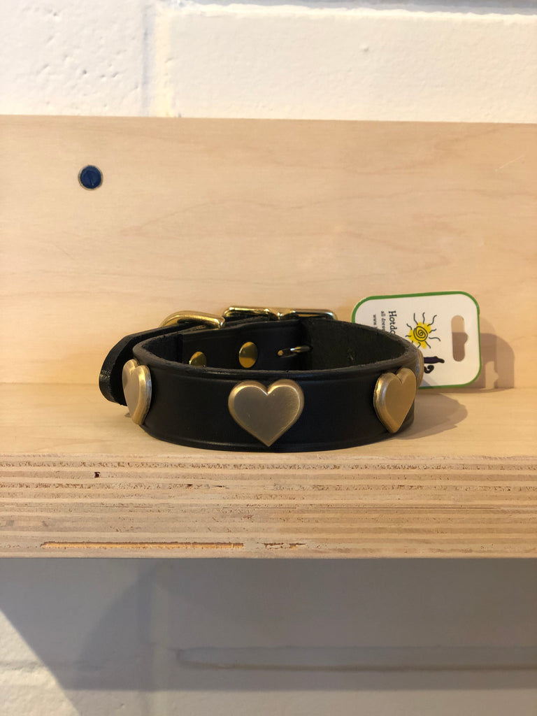 Hot Dogs All Dressed - Brass Hearts Leather Collar