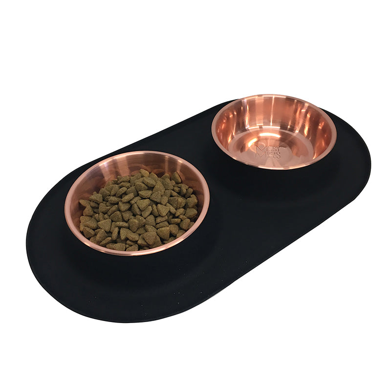 Messy Mutts Silicone Double Feeder with Copper Bowls