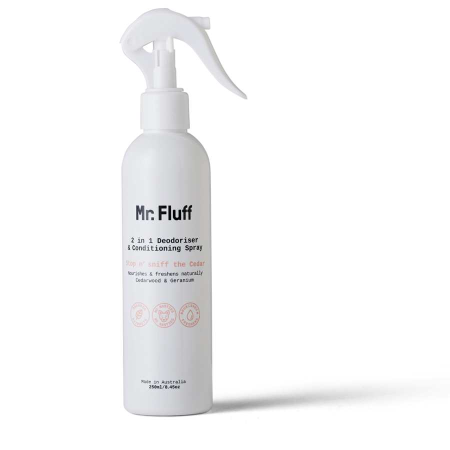 Mr. Fluff 2 in 1 Deodoriser & Conditioning Spray | Stop n' Sniff the Cedar | 250ml