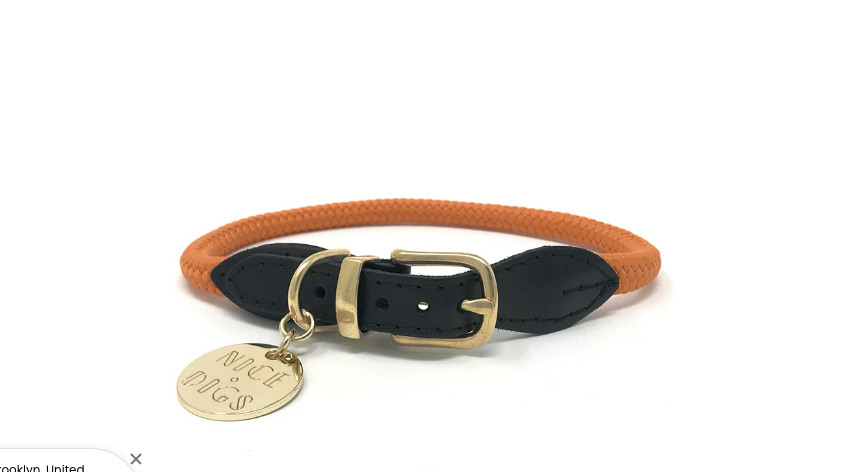 Nice Digs Orange Rope Collar