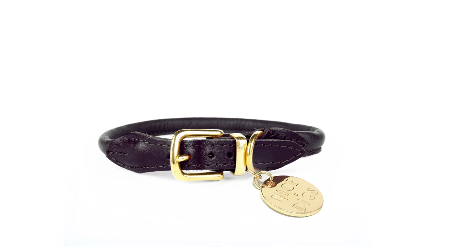 Nice Digs Rolled Leather Stevie Collar - Black