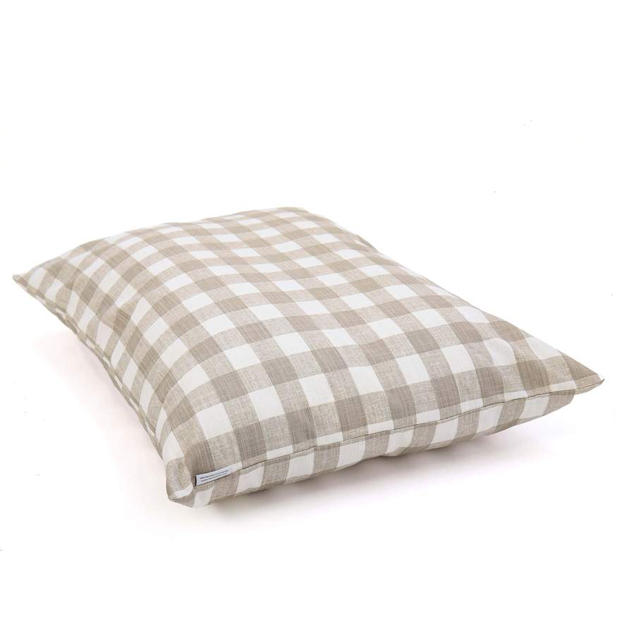 The Foggy Dog Stone Gingham Dog Bed