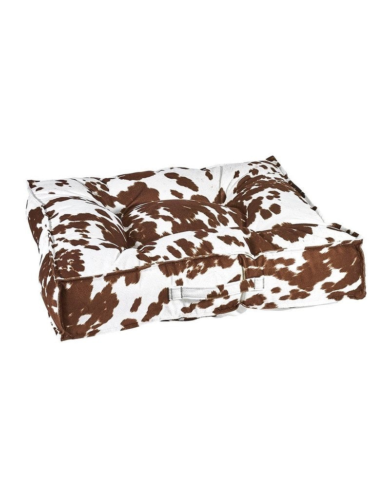 Bowsers Square Bed - Faux Cow Hide Brown