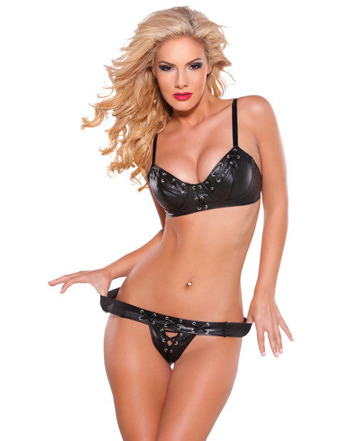 Allure Faux Leather Bra & G-String Set - Sexy Lingerie
