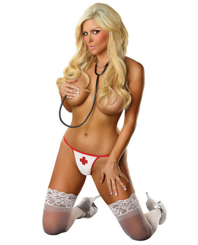 Critical Care G-String White - Sexy Nurse Lengerie