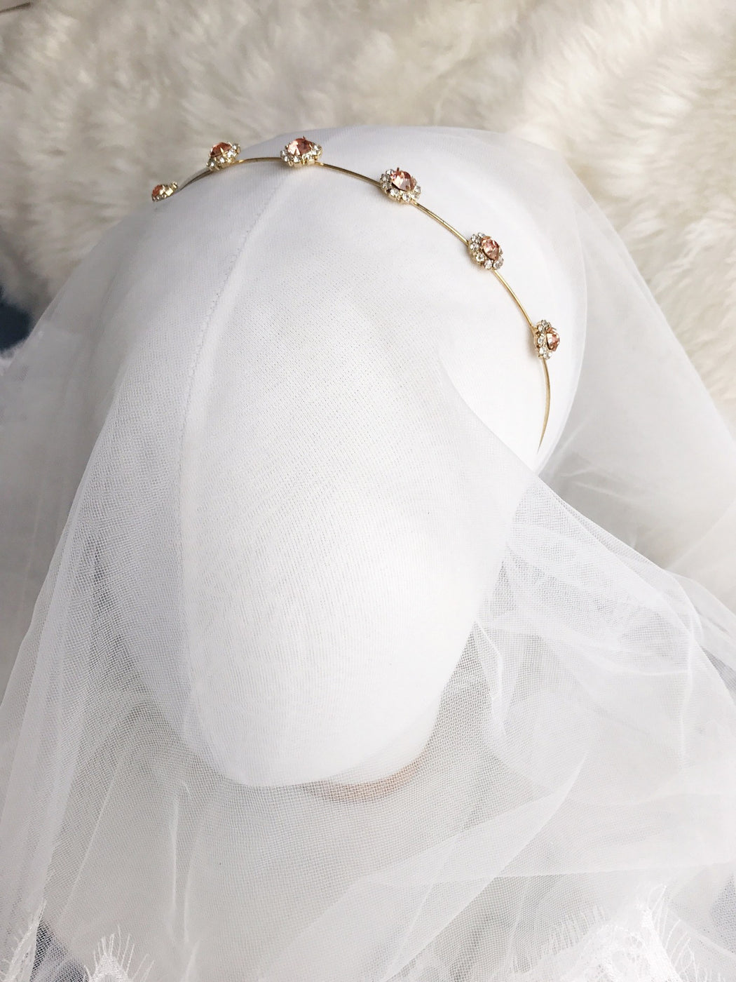 Alessandra Gold Embellished Cross Baroque Hairband Crown taylor and rose