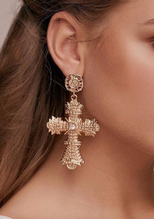 Andrea Oversized Baroque Gold Cross Earrings dolce statement earrings style d and g taylor and rose