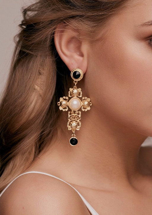 sofia Oversized Baroque Gold Cross Earrings dolce statement earrings style d and g taylor and rose