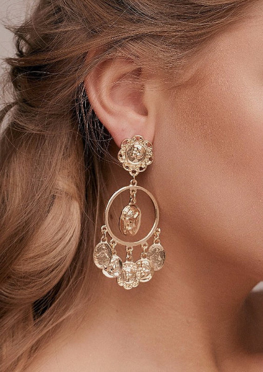 Gabriela Gold Coin Earrings baroque fashion jewellery dole earrings style taylor and rose