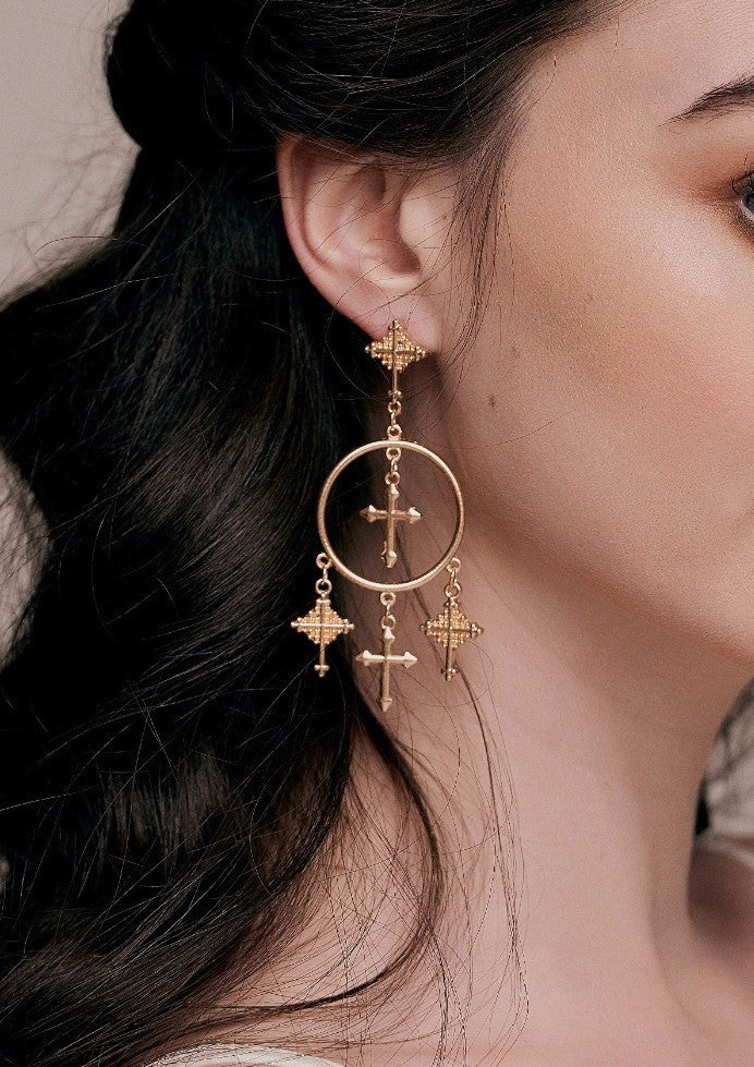 Lucia Gold Cross Hoop Earrings dolce style d and g statement taylor and rose