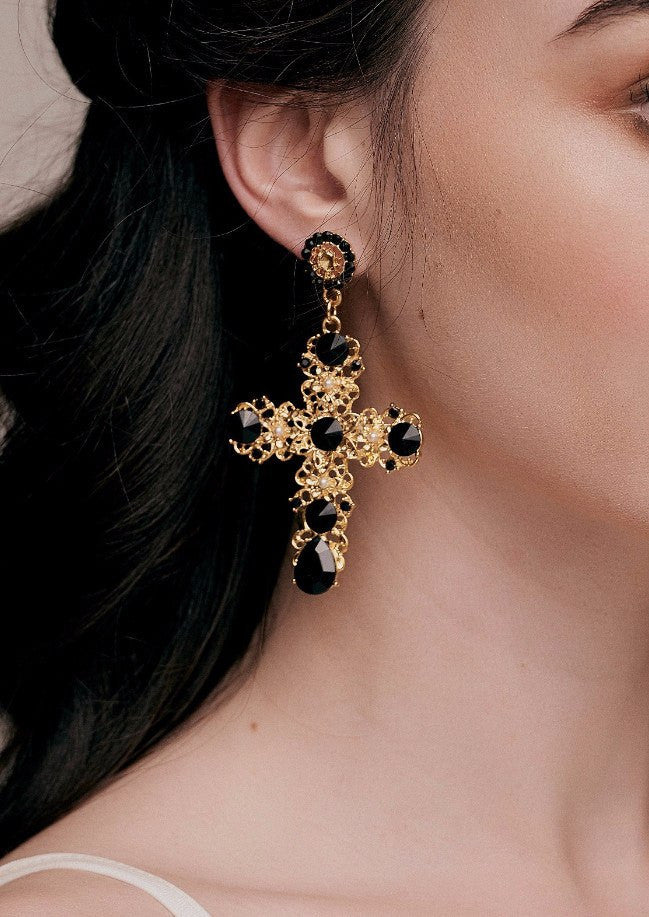 Isabella Black & Gold Baroque Cross Earrings dolce gabanna d g opulent fashion