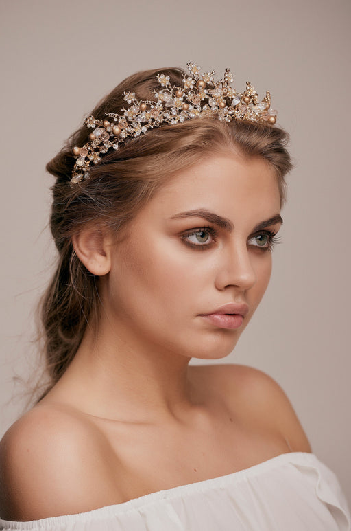 Embellished Champagne Gold Crown wedding hair bridal hairstyle