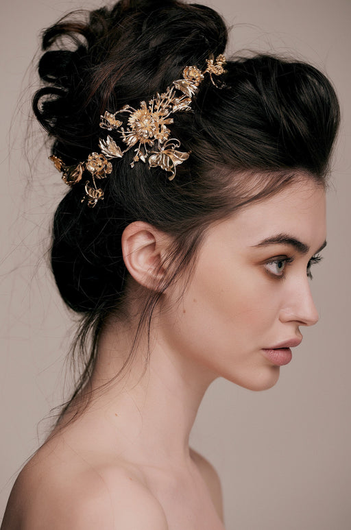 Carmen Luxe Gold Leaf Filigree Crown Hair Vine taylor and rose bridal hair wedding hairstyle