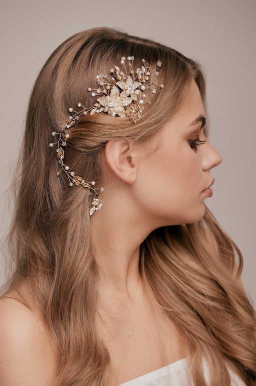 Bella Gold Crystal Flower Hair Vine