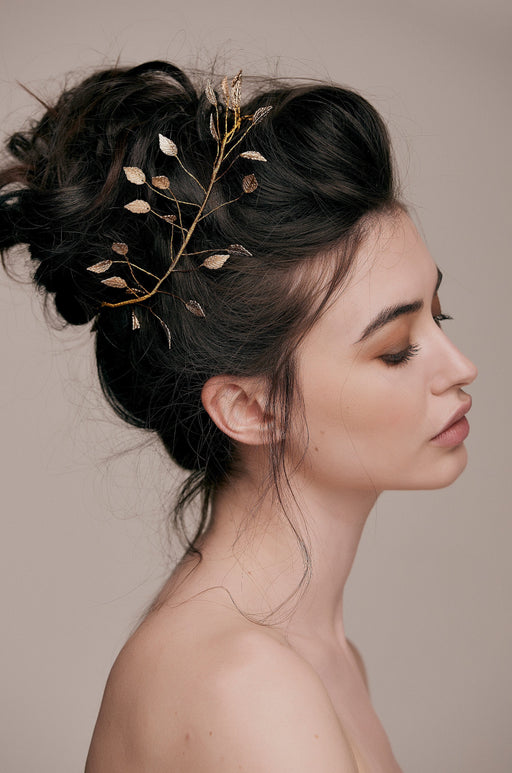 Gold Hairband Crown taylor and rose hair vine boho bridal hair ideas wedding hairstyles brides hair couture