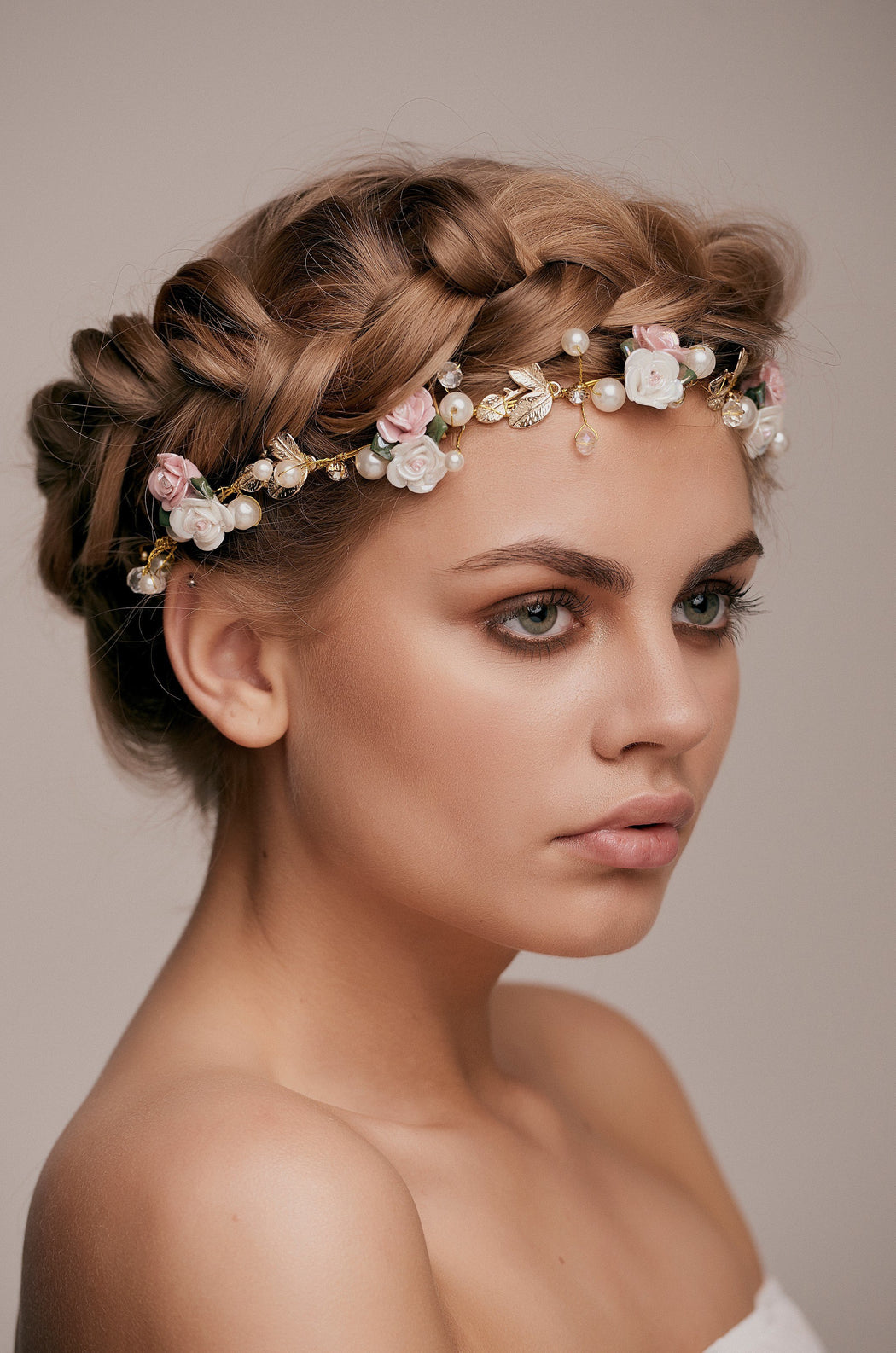 Layla Gold Beaded Rose Hair Vine Taylor Rose