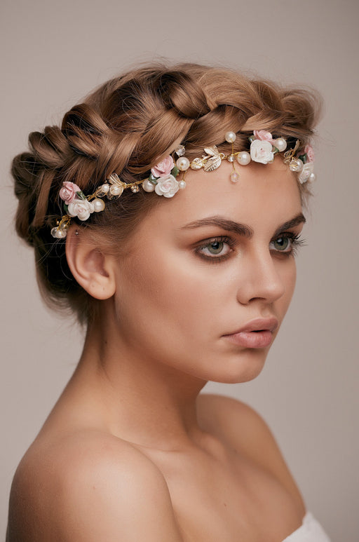 Layla Gold Beaded Rose Hair Vine bridal hair wedding hairstyle taylor and rose