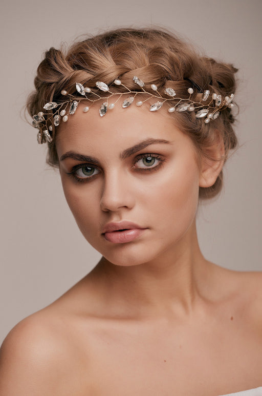 Naomi Crystal Beaded Hair Vine bridal hair accessory wedding hairstyle accessory taylor and rose