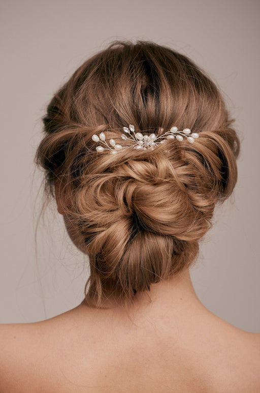 Emma crystal pearl silver hair pin taylor and rose bridal hair ideas wedding guest hairstyle