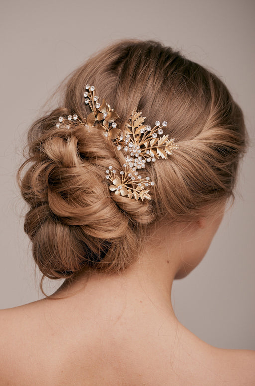 laura gold crystal trio hair pin set taylor and rose bridal hair ideas wedding guest hairstyle