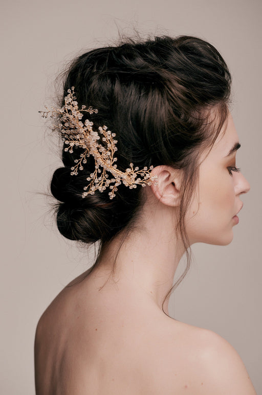 Penny Gold Beaded Crystal Hair Comb taylor and rose bridal hair ideas wedding guest hairstyle