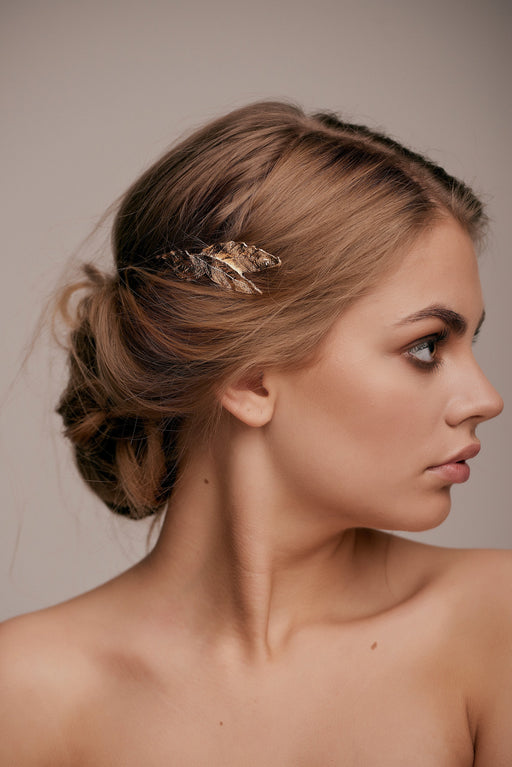 gold leaf hair pin taylor and rose bridal hair ideas wedding guest hairstyle