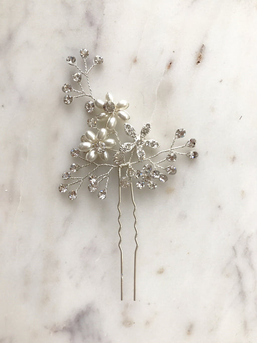 Briona Silver Beaded Crystal Hairpin