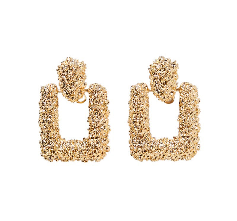Louisa Oversized Baroque Gold Earrings