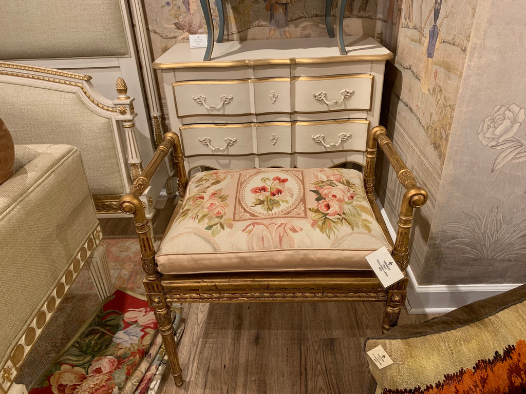 French Market Collection Alina Single Gold bench with the Pansy Alina Single cushion