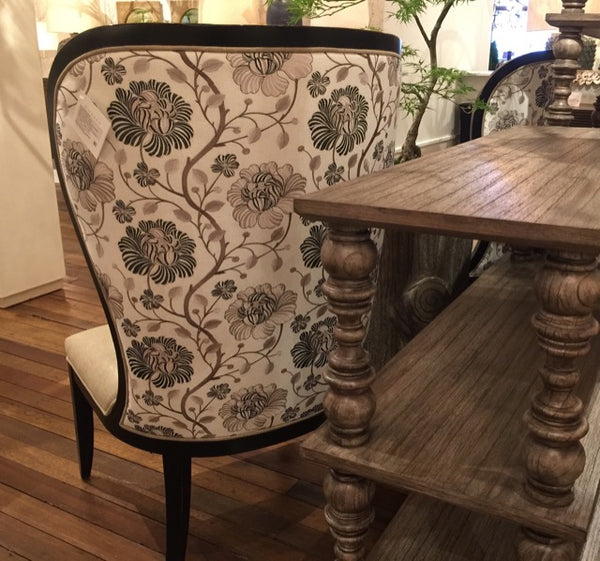 Black Floral fabric cover the Taylor Chair at Currey & Company