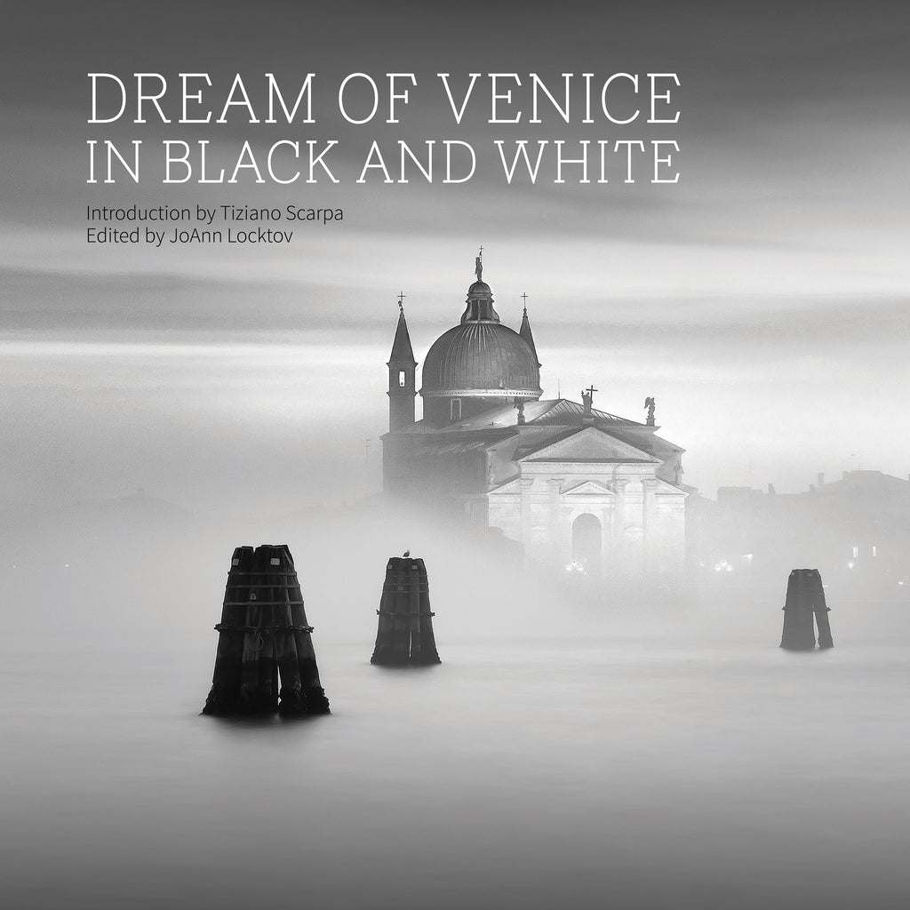"The cover image of Dream of Venice in Black and White, titled ""Il Redentore,"" was photographed by Lisa Katsiaris, who offers prints for sale online."