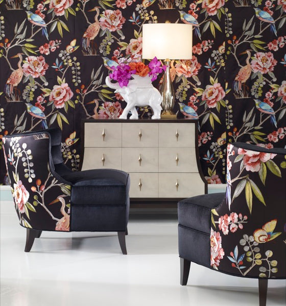 Social Butterfly Chair by Ambella Home in Paradise fabric in Ebony