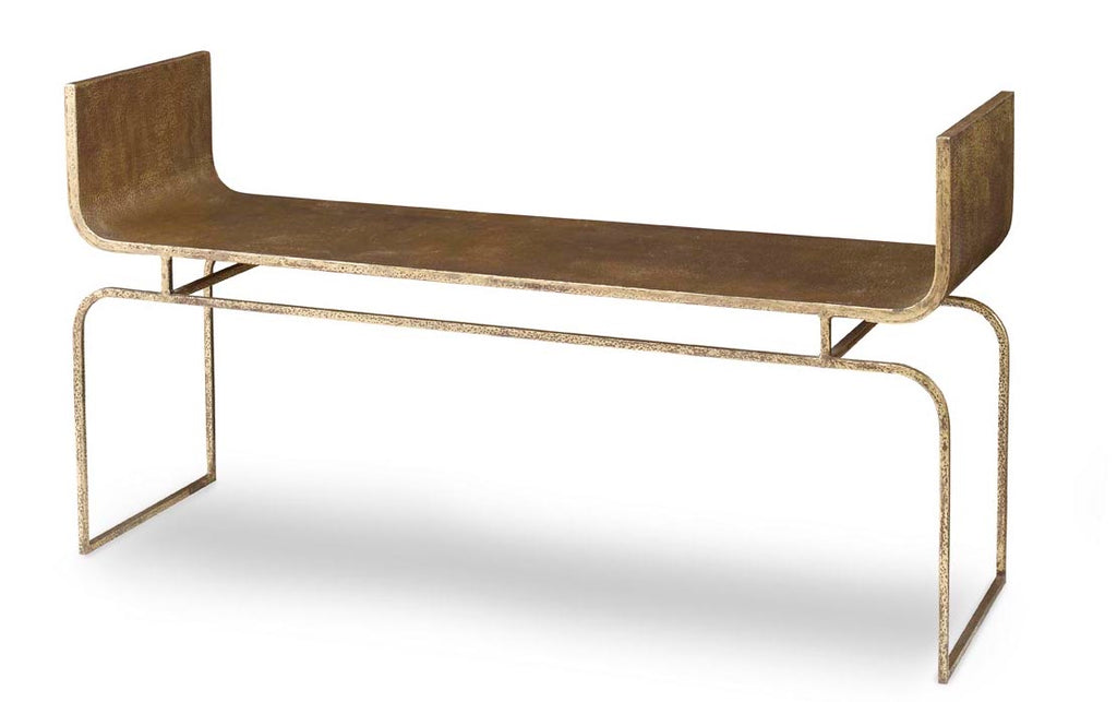 The Trieste bench in the Mr. Brown Home showroom in Atlanta