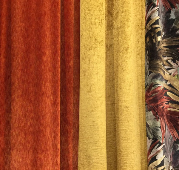 Deep cinnamon and dusky mustard velvets brought to Heimtextil by Vigano.