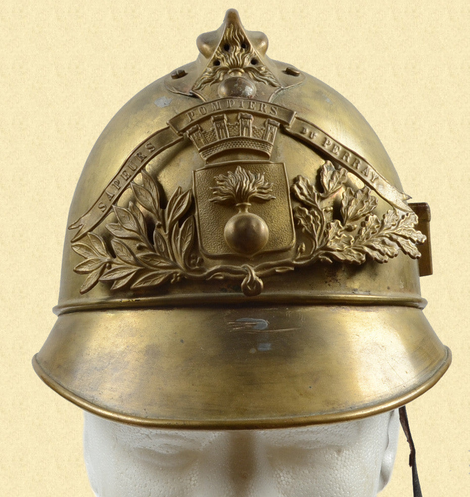 FRENCH BRASS FIREMANS HELMET