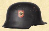GERMAN M34 DOUBLE DECAL FEUERSCHUTZPOLIZEI HELMAT