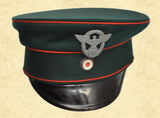 UNKNOWN OFFICER'S VISOR CAP W/RED PIPING